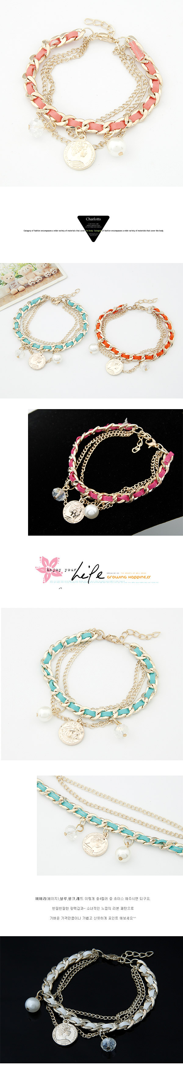 Korean Fashion Coin Crystal Pearl Pendant Weaving Bracelet Wholesale NHSC205702