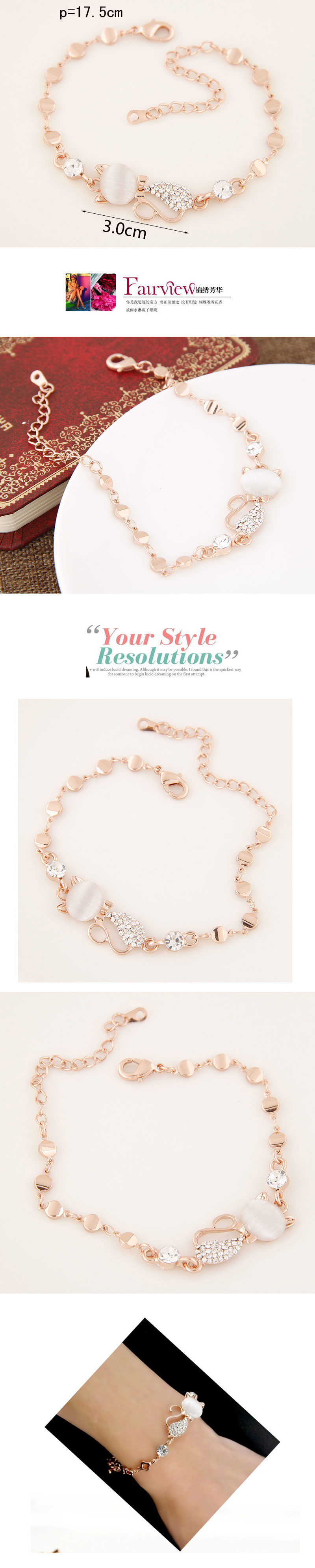 Korean Fashion Sweet Flash Diamond Cute Kitty Lady Bracelet Wholesale NHSC205701