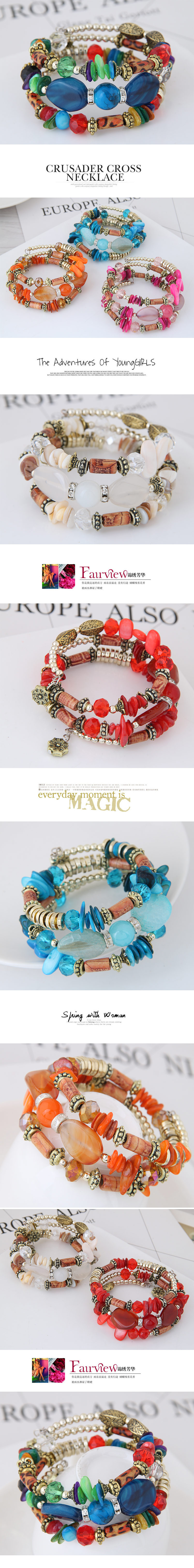 Bohemian style shell turquoise mix and match multilayer bracelets wholesale NHSC205699