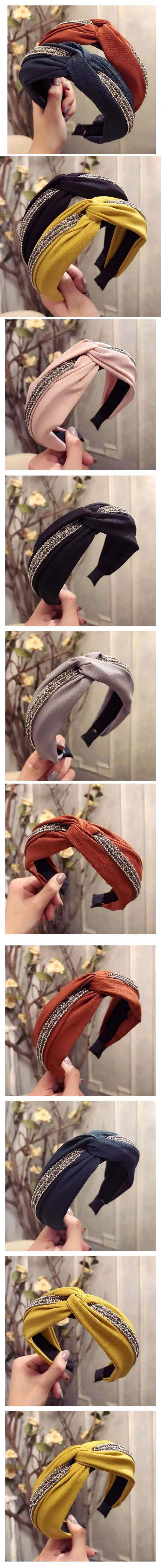 Korean simple new cross knotted diamond wide side wide side cheap headband wholesale NHSC205681