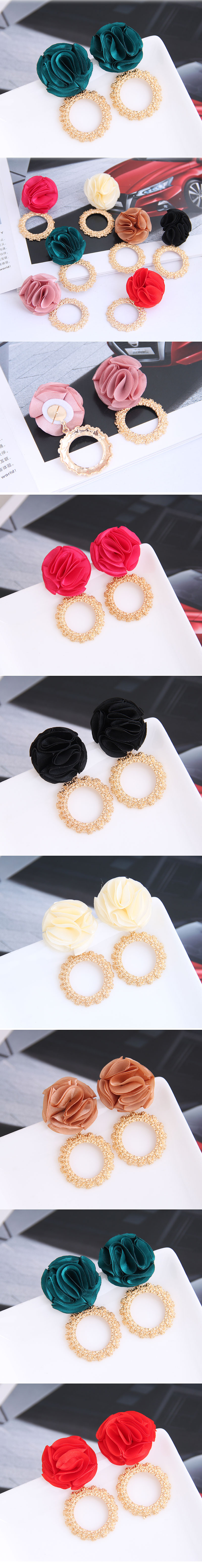 Yi wu jewelry wholesale fashion wild metal ring flowers exaggerated earrings NHSC205678