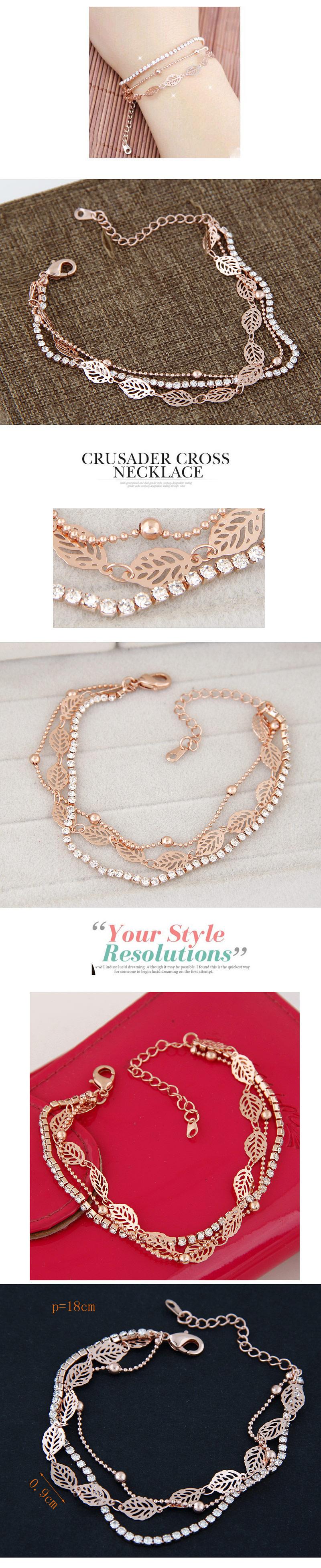 Boutique Korean Fashion Sweet OL Flash Diamond Love Leaf Multi-layer Bracelet NHSC199759
