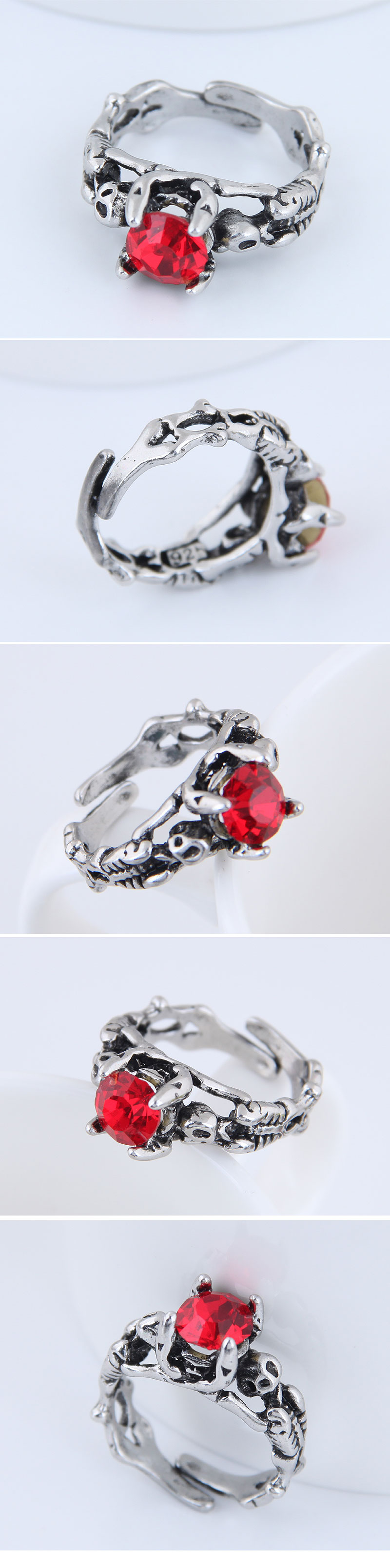 Yiwu jewelry wholesale fashion punk simple retro gem open ring NHSC206200