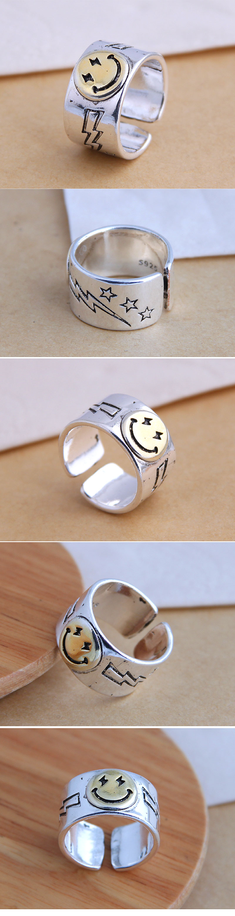 Fahsion jewelry fashion retro smiley exaggerated open ring wholesale NHSC200913