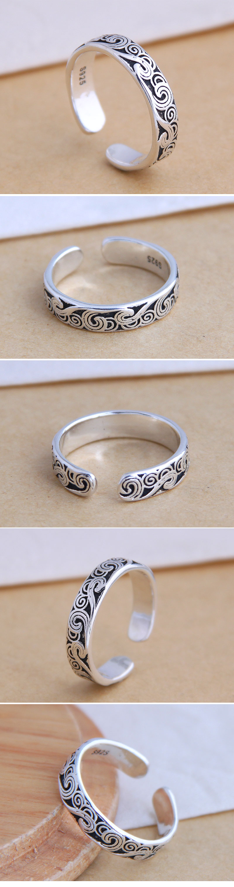 Fashion jewelry fashion vintage pattern open ring simple ring wholesale NHSC200902