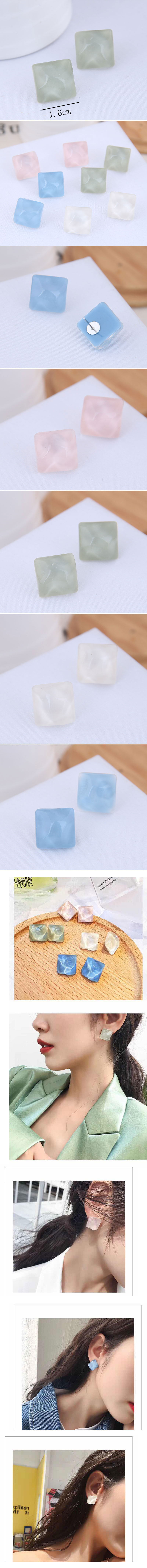 Fashion jewelry Korean fashion sweet resin accessories square earrings wholesale NHSC200893