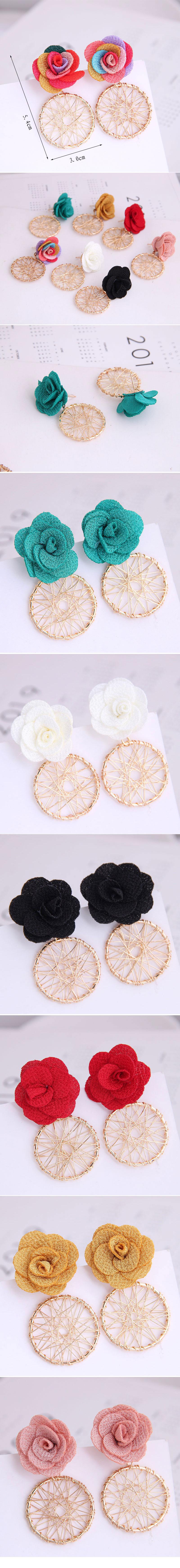 Korean Fashion Sweet Flower Metal Capture Mesh Stud Earrings Fahsion jewelry Wholesale NHSC200884