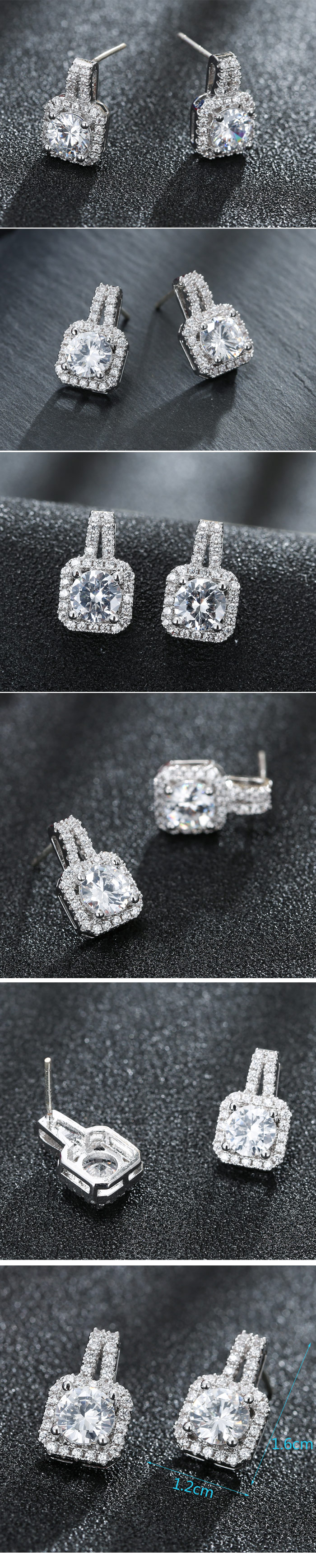 Delicate Korean Fashion Sweet Cube Square Diamond Zircon Stud Earrings NHSC201023