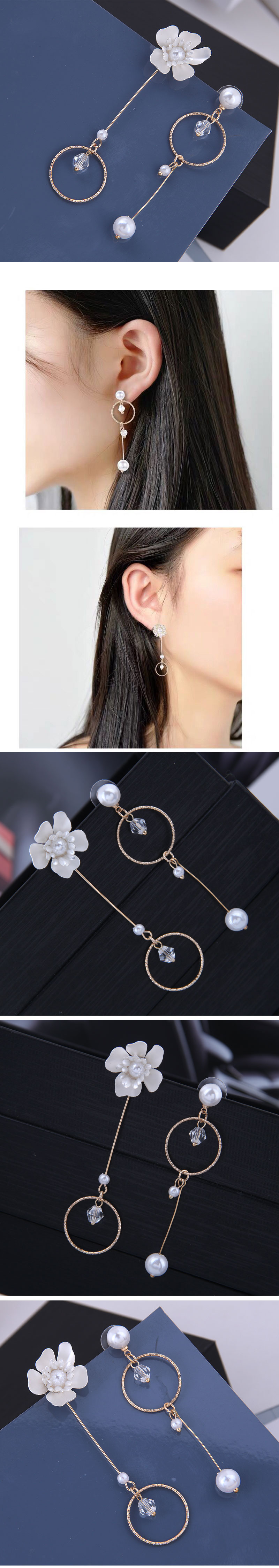 Korean fashion sweet ol rich flowers simple circle asymmetric earrings Yiwu wholesale NHSC206643