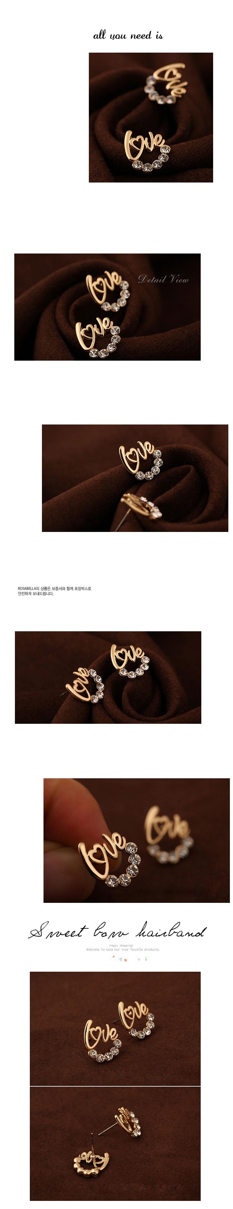 Boutique Korean fashion diamond studded LOVE earrings yiwu nihaojewelry wholesale NHSC208626