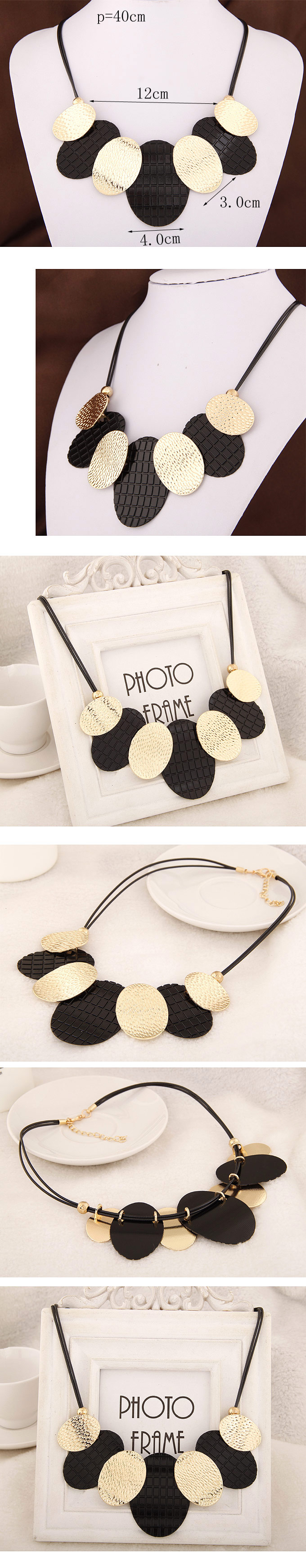 Fashion wild metal simple round brand necklace yiwu nihaojewelry wholesale NHSC210460