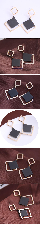 Korean fashion sweet simple square earrings yiwu nihaojewelry wholesale NHSC210435
