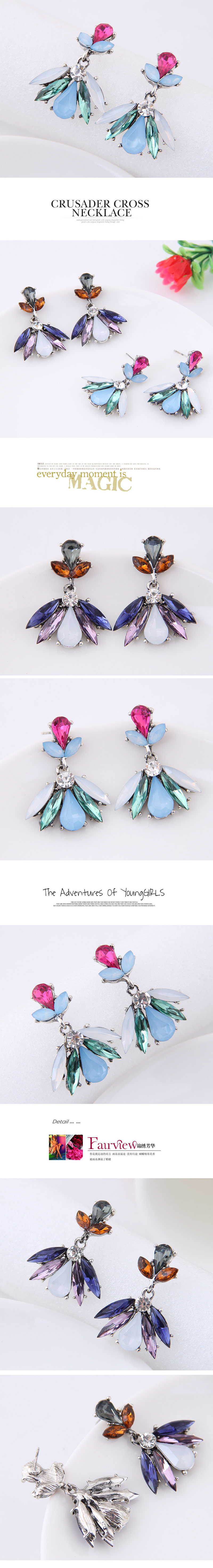 Metal shiny gorgeous gemstone earrings yiwu nihaojewelry wholesale NHSC211303