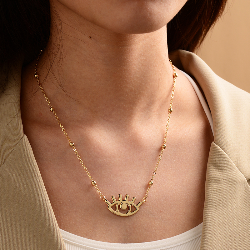 New fashion gold-plated devil's eye punk style necklace nihaojewelry wholesale NHOT212716