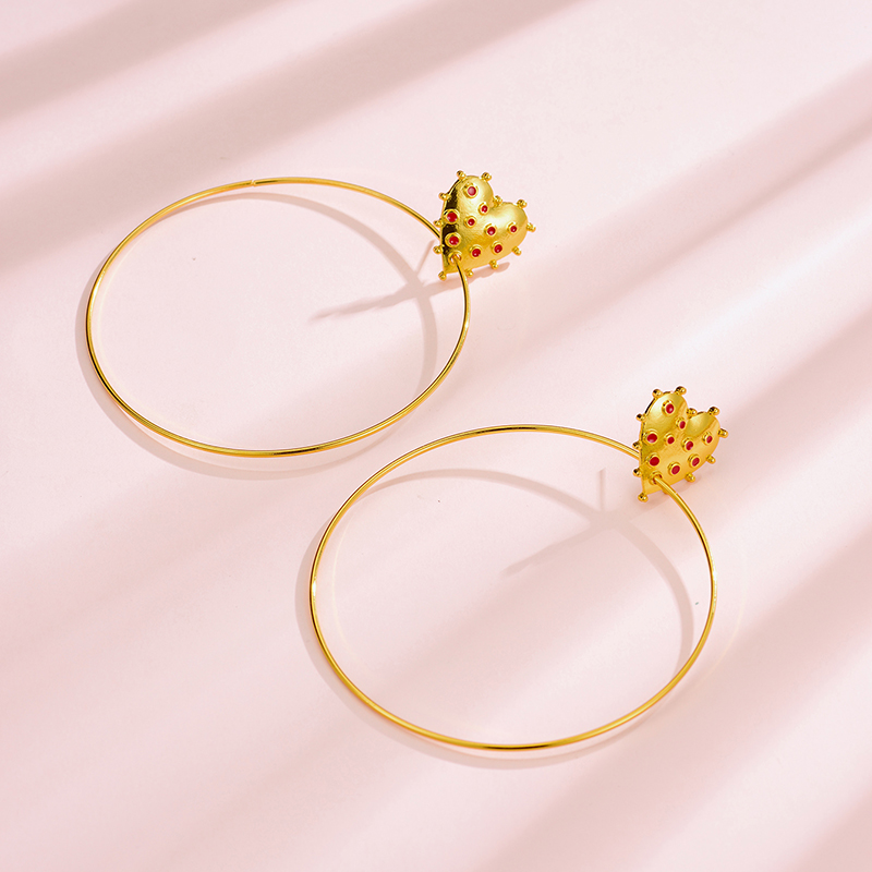 New gold-plated love big circle earrings metal dripping earrings Yiwu wholesale NHOT207344