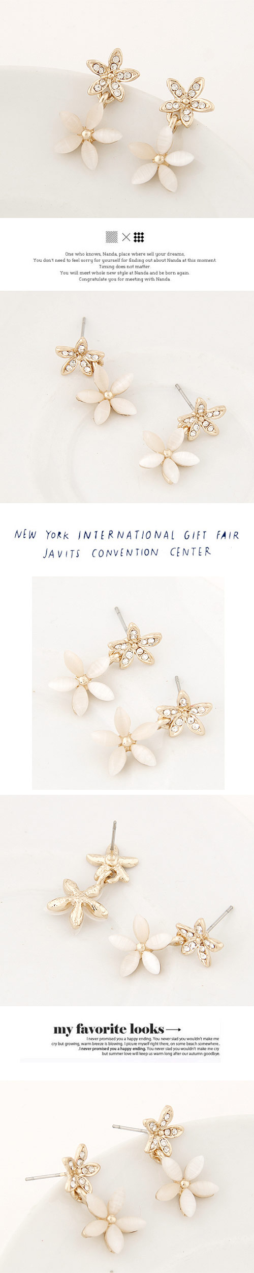Boutique Korean fashion sweet flash diamond flower opal temperament earrings NHSC207521
