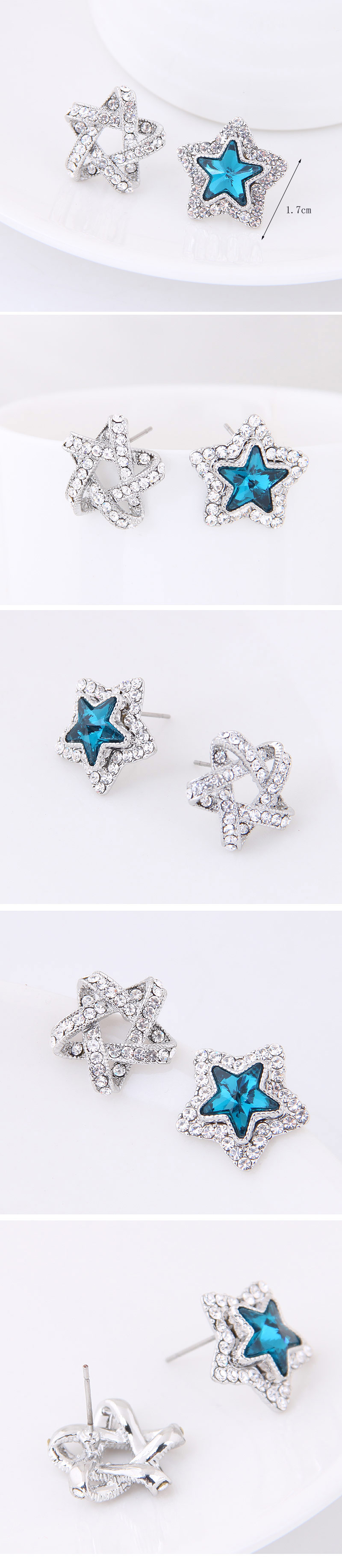 Boutique Korean fashion sweet OL flash diamond lucky star personality earrings NHSC207530