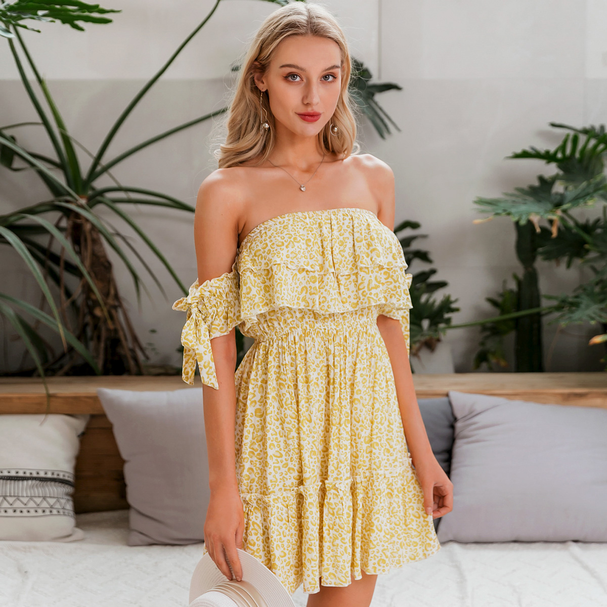 wholesale women's fashion clothes floral dress summer nihaojewelry sweet deep V-neck off-shoulder dress NHDE215863