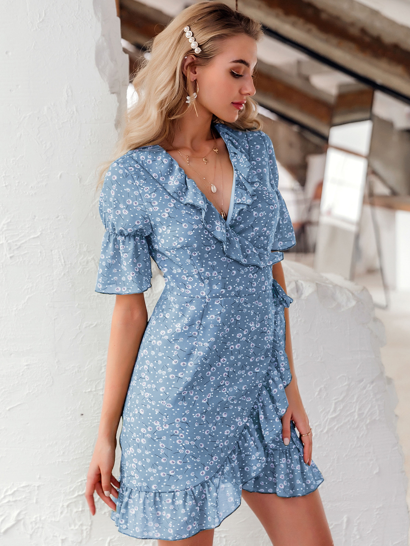 wholesale women's fashion falbala flower clothes sweet V-neck print small floral dress  NHDE215875