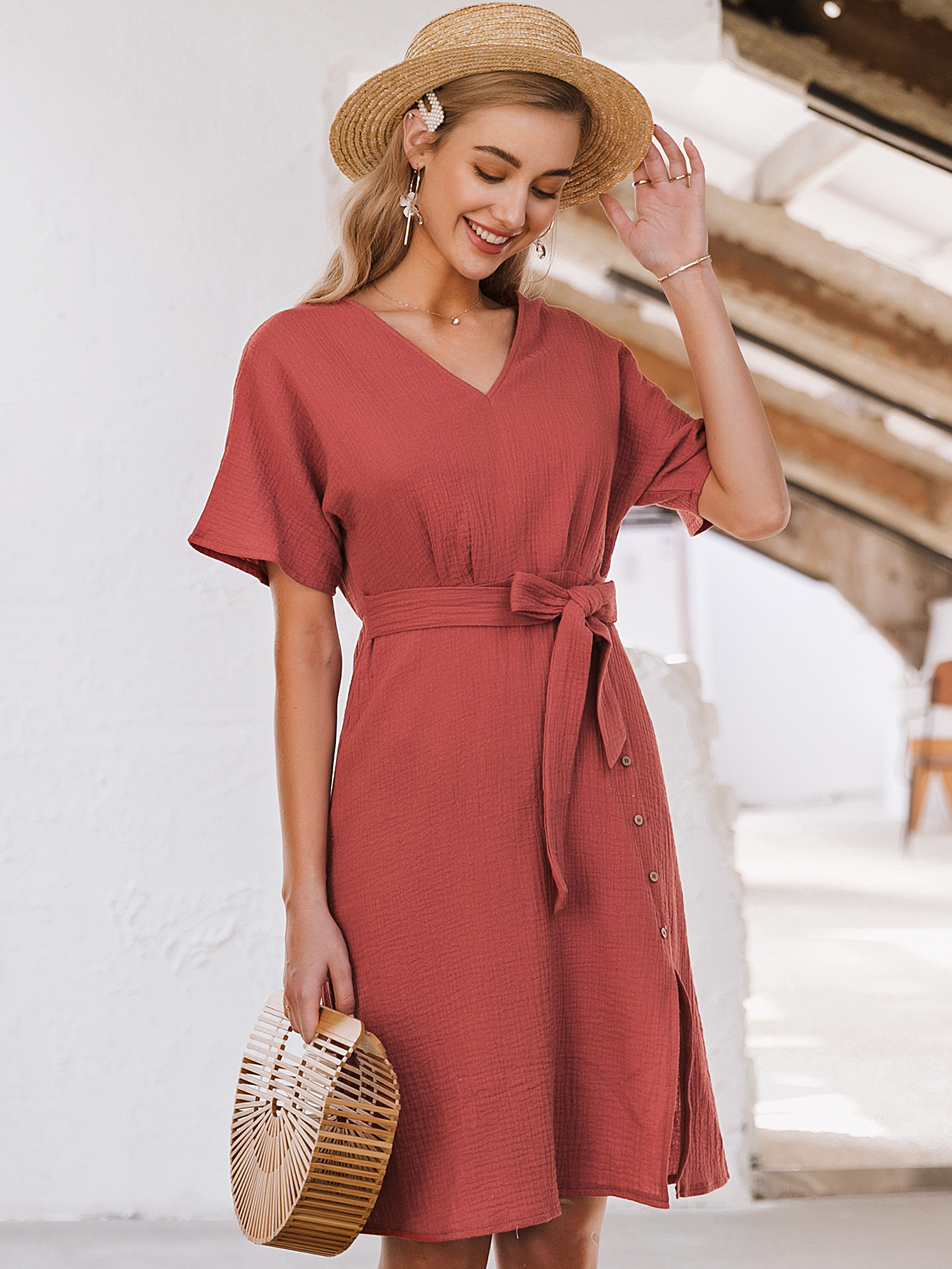 summer simple retro red v-neck dress sexy slim dress for women  nihaojewelry wholesale NHDE215970