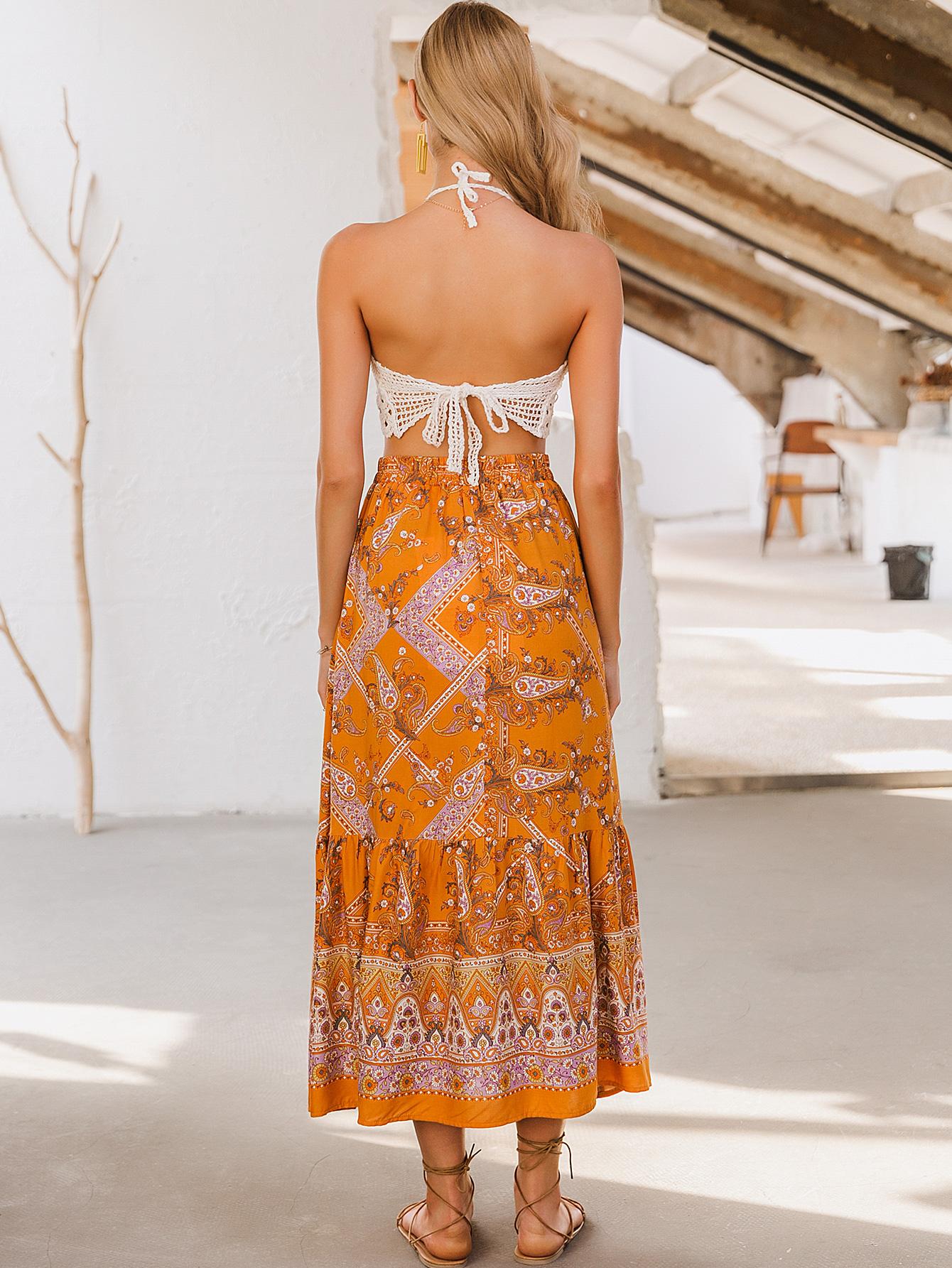 wholesale fashion women's clothes nihaojewelry chic print orange dress chiffon dress NHDE215982
