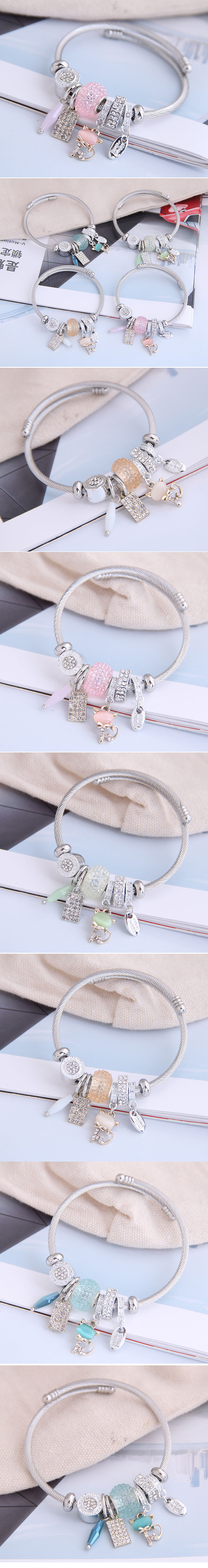 fashion metal wild pan DL simple and wild shine cat pendant multi-element accessories personalized bracelet wholesale nihaojewelry NHSC219332