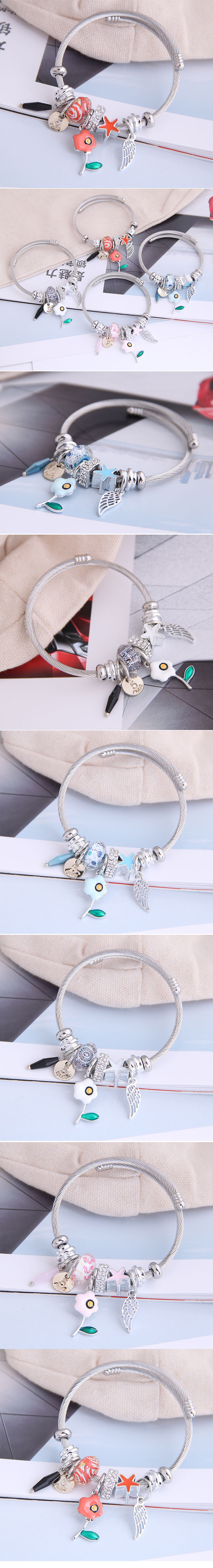 fashion metal wild pan DL simple small flower wings pendant multi-element accessories personalized bracelet wholesale nihaojewelry NHSC219331