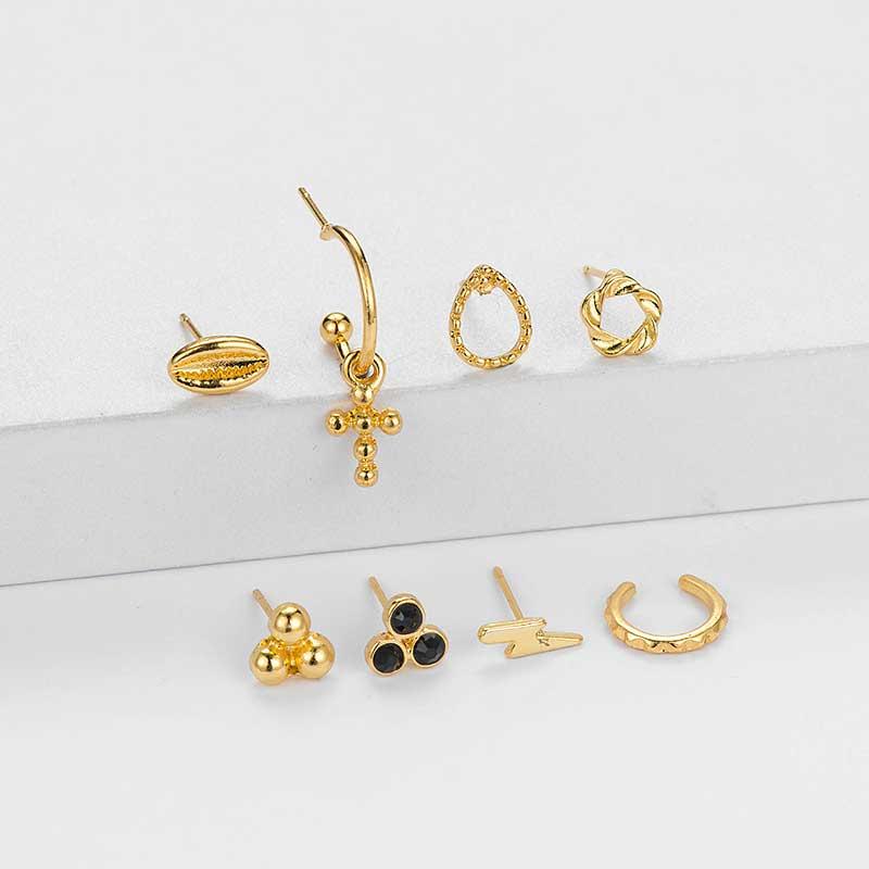 fashion simple style trendy  new gold-plated cross earrings female ladies street fashion earrings set nihaojewelry wholesale NHOT220207