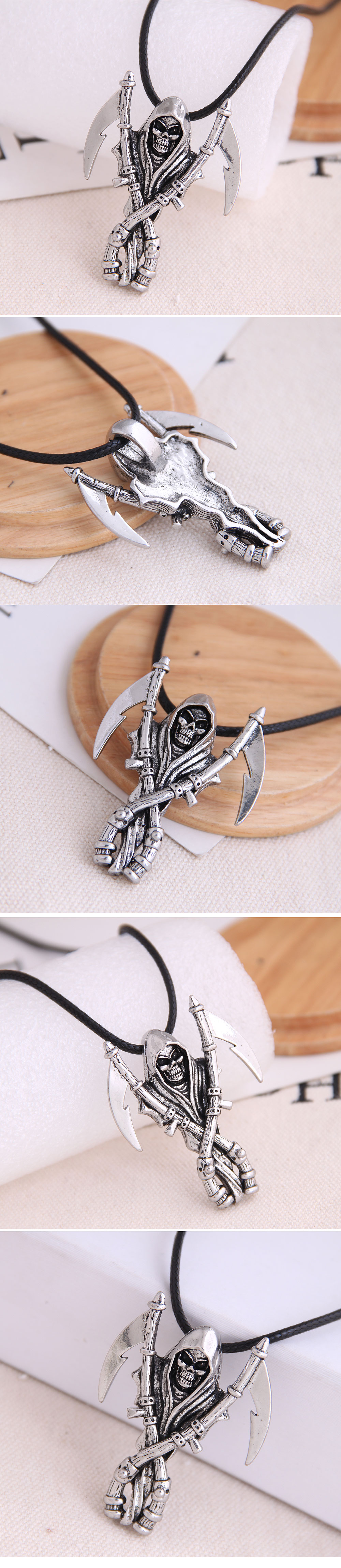 new fashion men domineering retro skull tomahawk personality necklace wholesale nihaojewelry NHSC225552