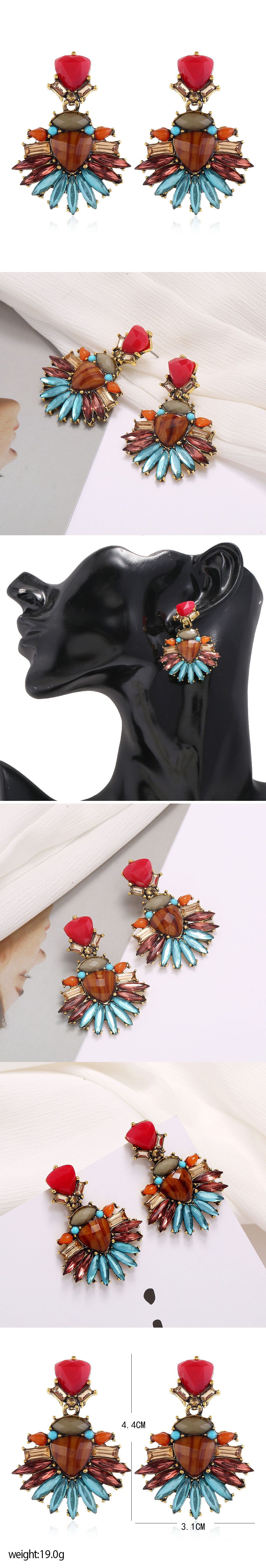 fashion metal simple color gems temperament exaggerated earrings  wholesale nihaojewelry NHSC221633
