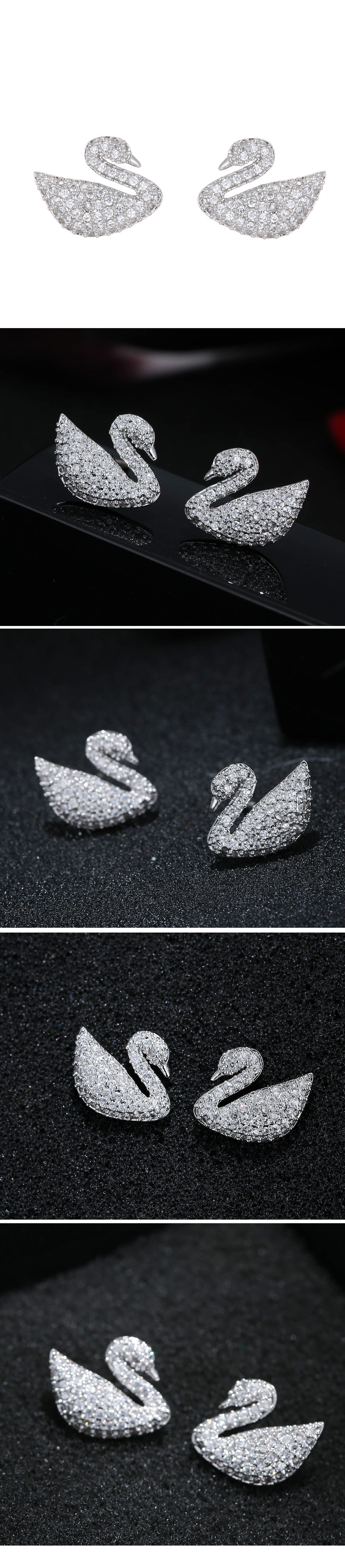 Korean fashion sweet OL simple flash diamond swan temperament earrings wholesale nihaojewelry NHSC227555