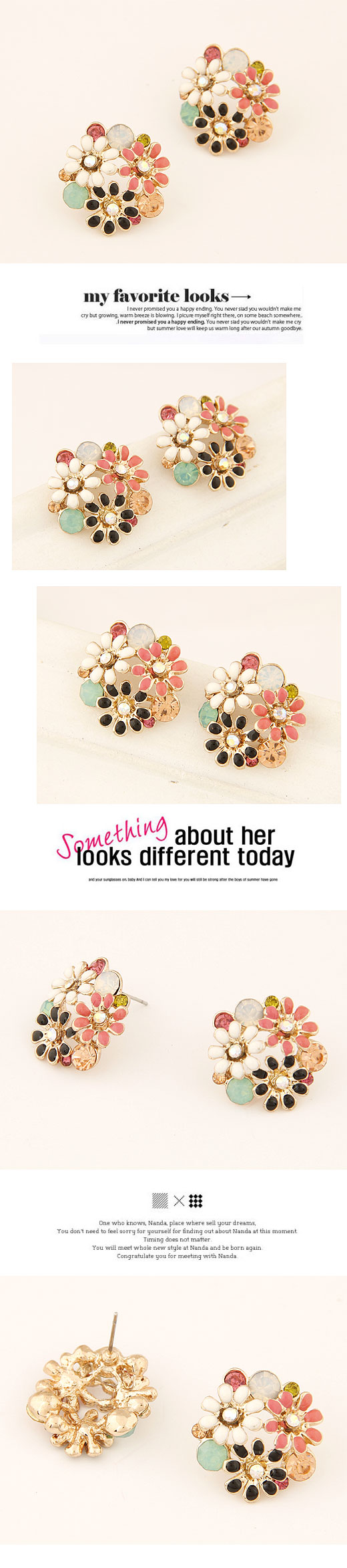 Boutique Korean fashion sweet OL chrysanthemum temperament earrings wholesale nihaojewelry NHSC222301