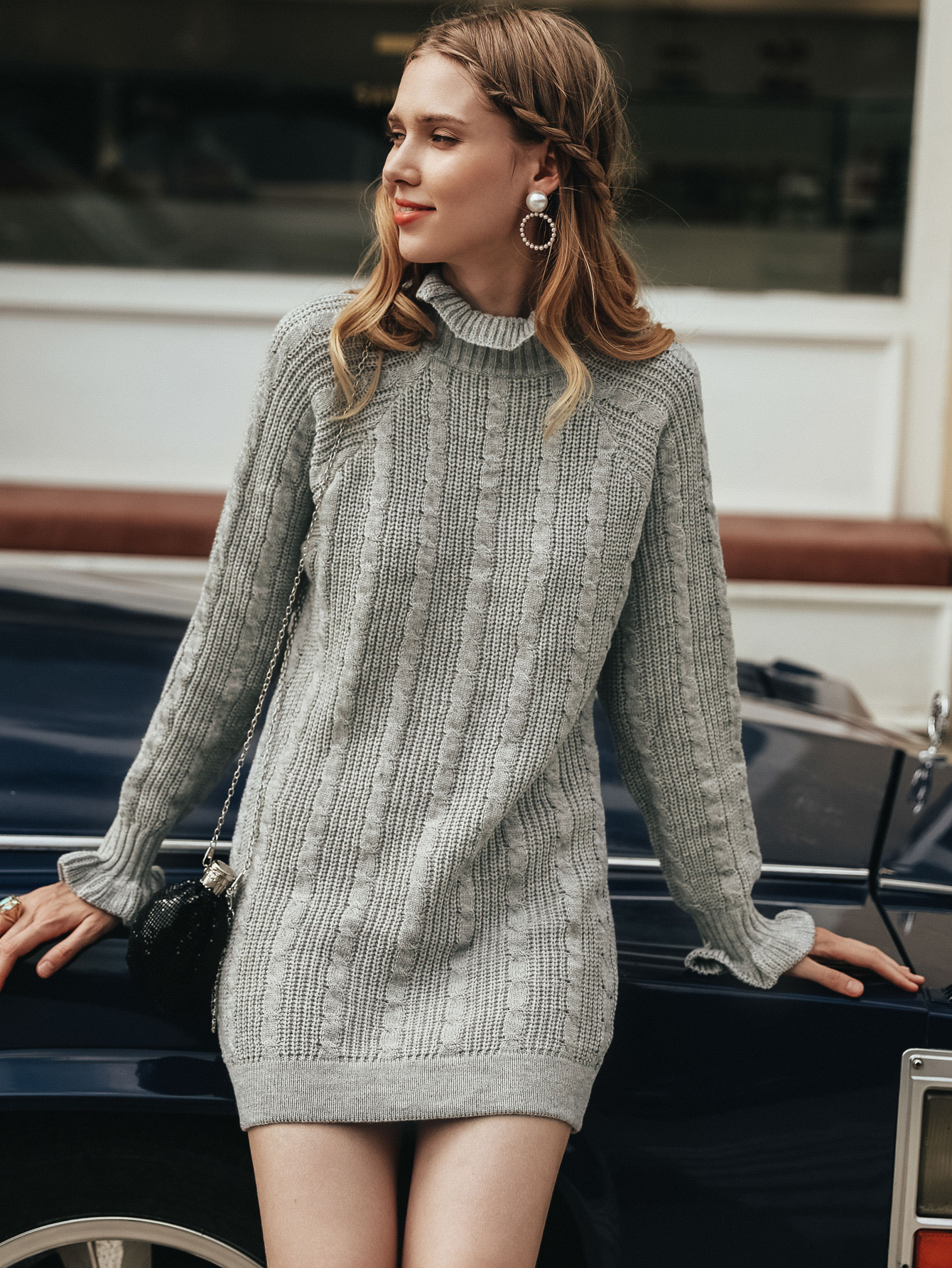 Casual sweater dress women fashion solid color ruffled turtleneck sweater dress NHDE230692