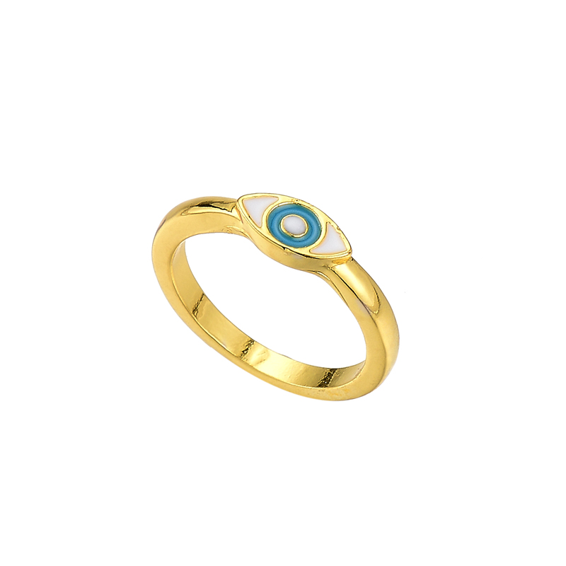 new gold-plated devil's eye painting oil ring ladies street shooting fashion closed mouth ring NHOT230764