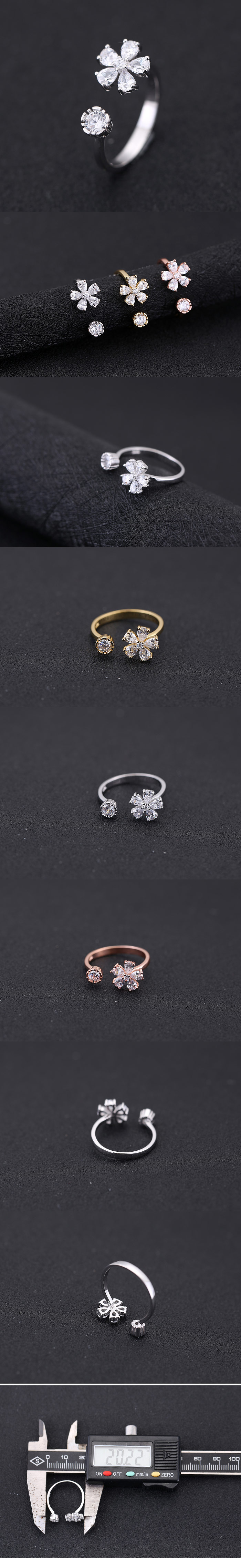 exquisite Korean fashion sweet four-leaf clover zircon personality temperament open ring wholesale niihaojewelry NHSC223405