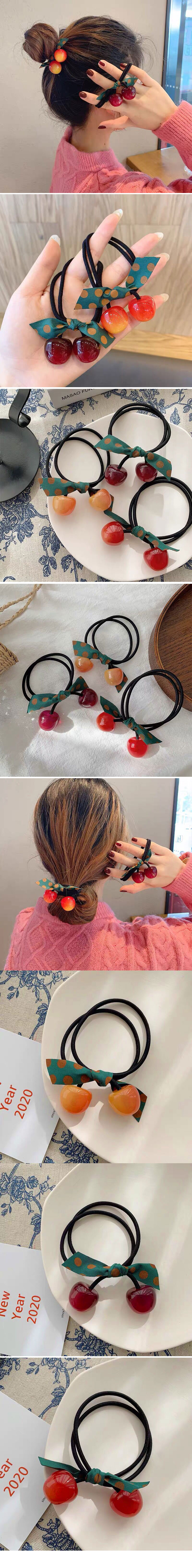 Korean hair rope simple wild bow candy cherry beads wide rubber band tie head rubber band hair accessories elastic rubber band hair rope wholesale nihaojewelry NHSC224465