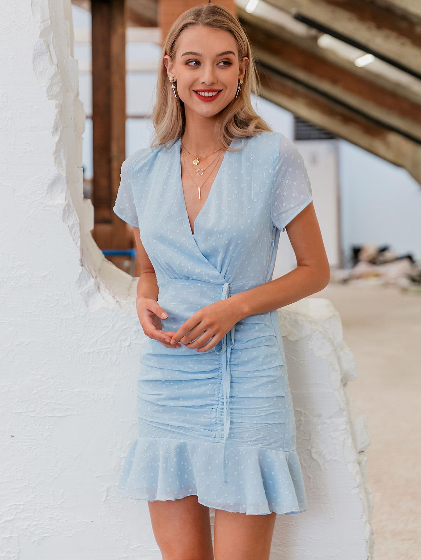 summer fashion new sexy v-neck blue slim dress for women wholesale NHDE230707