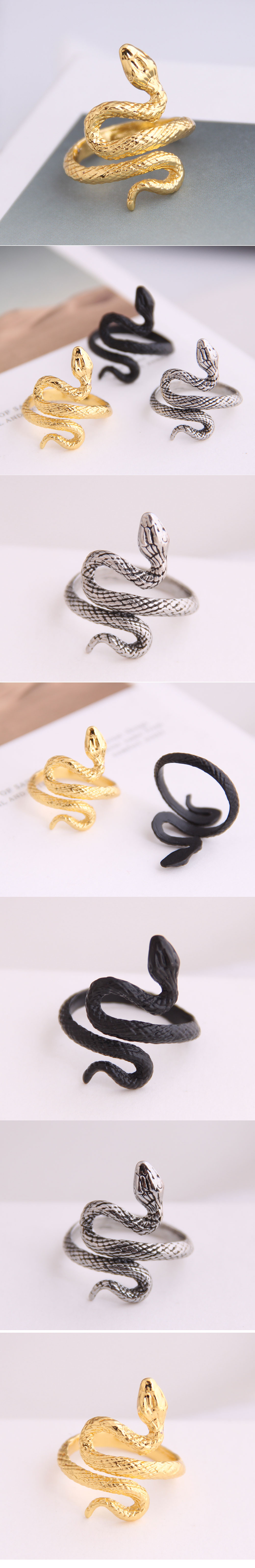 European and American fashion metal lucky snake personality open ring NHSC235728