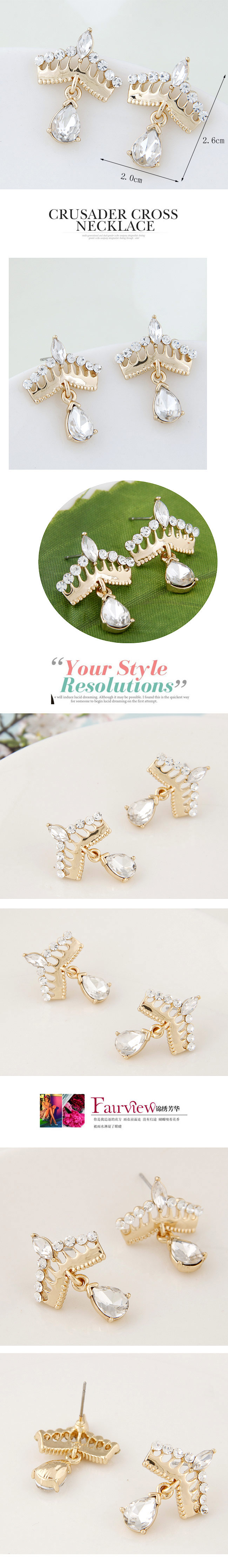 Boutique Korean fashion sweet and simple crown earrings wholesale nihaojewelry NHSC236251