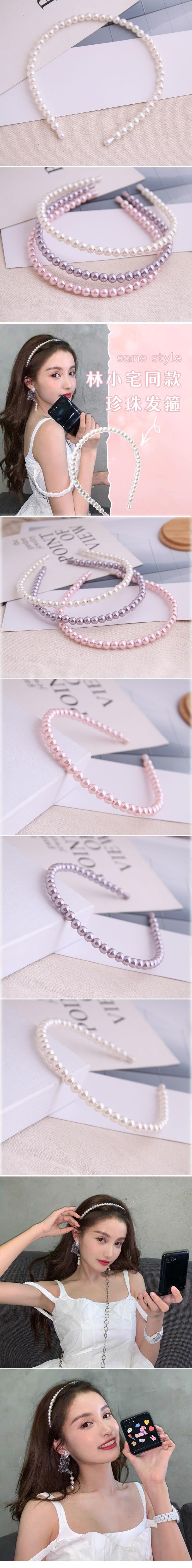 Korean fashion all-match headband simple pearl ladies simple headband hair accessories alloy headband nihaojewelry  NHSC236998