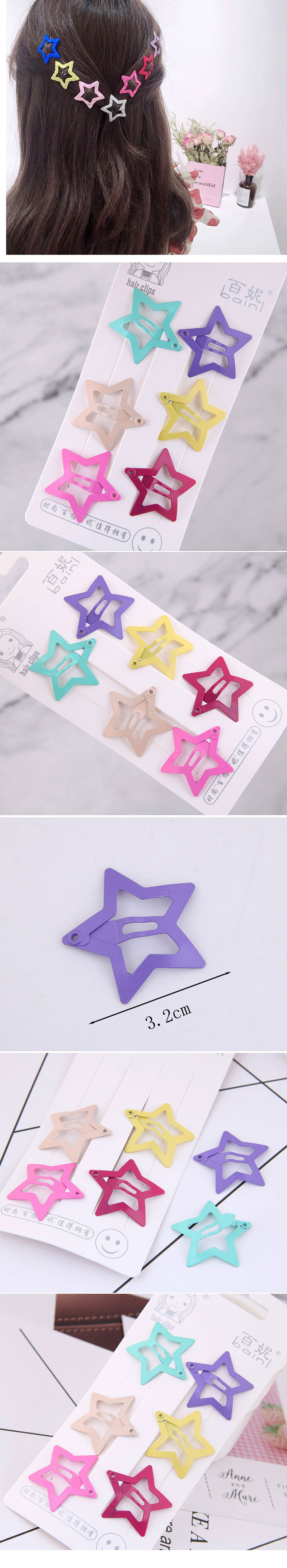 Fashion hairpin for children Candy color cute children's hair clip five-pointed star hairpin side clip Korea small clip hairpin  NHSC237363