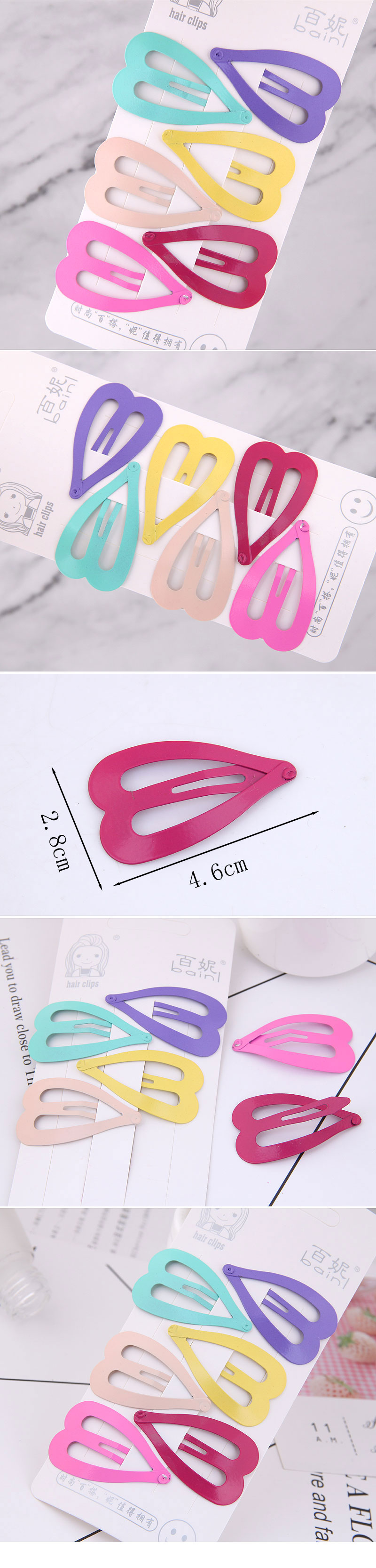 Candy color cute hairpin side clip for children love shape Korea clip small clip hairpin NHSC237359