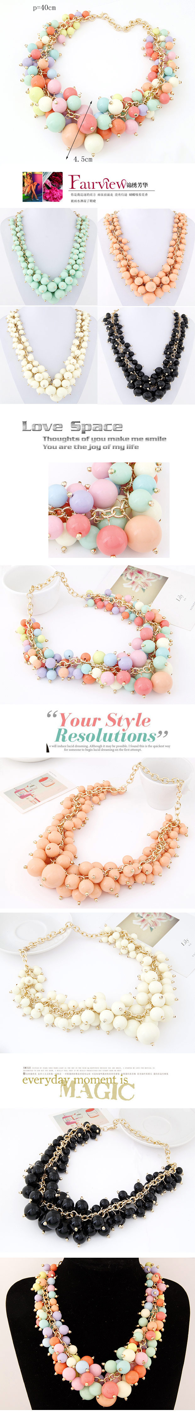 fashion metal wild candy grape string bead exaggerated necklace  wholesale nihaojewelry NHSC231809