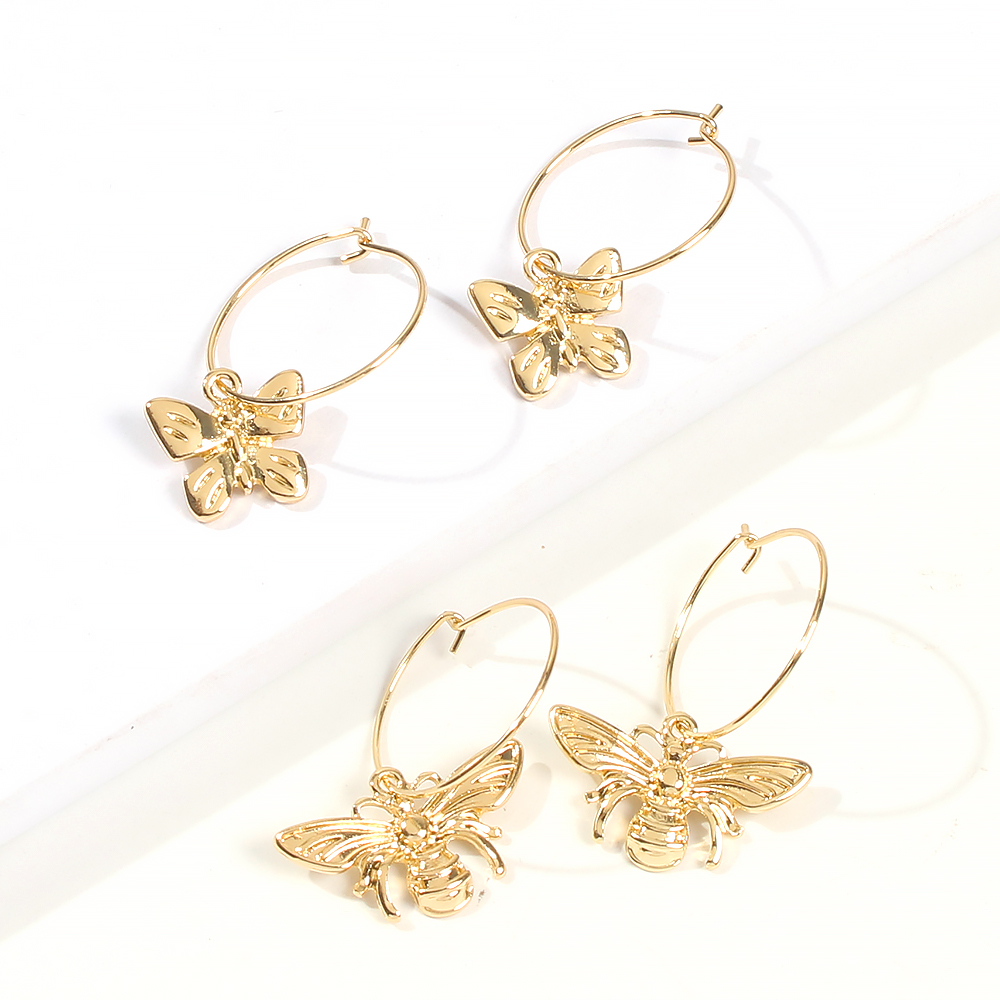 Little bee butterfly fun earrings female circle allmatch earrings NHMD245119