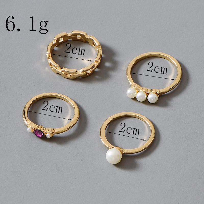 fashion gold-plated crystal pearl ring 4-piece set wholesale NHOT252469