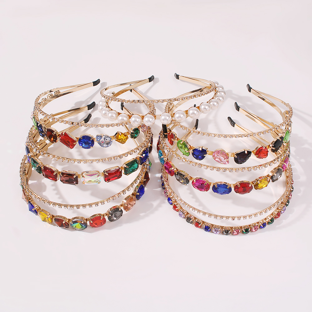 Double layer diamond imitation pearl headband alloy new headband wholesale NHMD250405