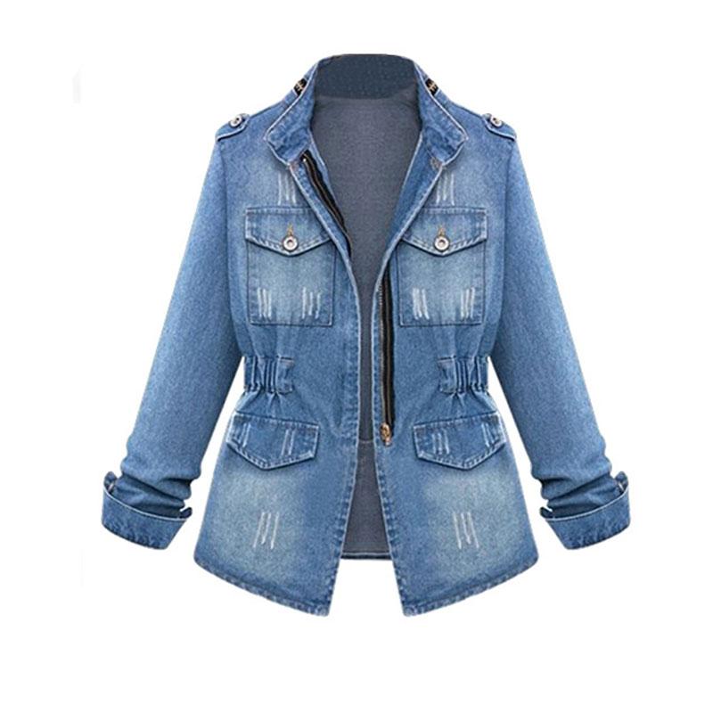 women's blouse long sleeve plus size waist pocket denim jacket wholesale NHJC250380
