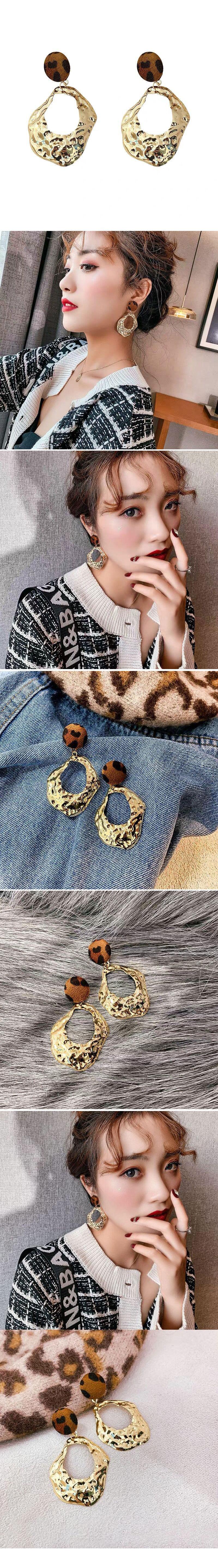 925 silver needle fashion irregular metal exaggerated earrings wholesale nihaojewelry NHSC242049