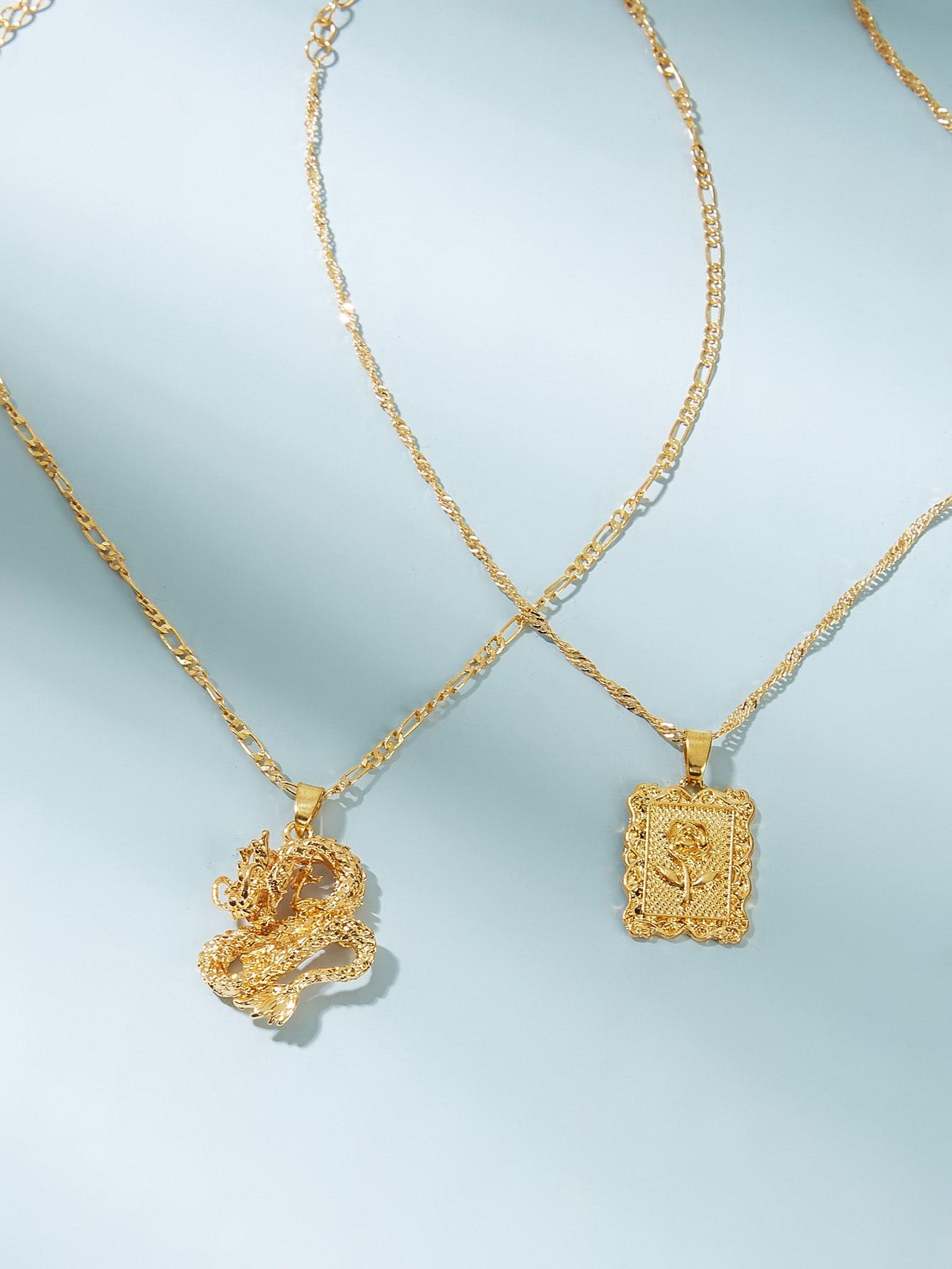 Fashion women's dragon personality totem necklace wholesale NHAJ256465