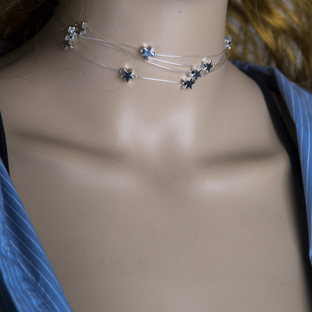 Fashion sweet fivepointed star transparent fish line multilayer copper necklace NHBQ256460